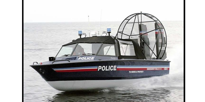 Police Boat at Speed on Water