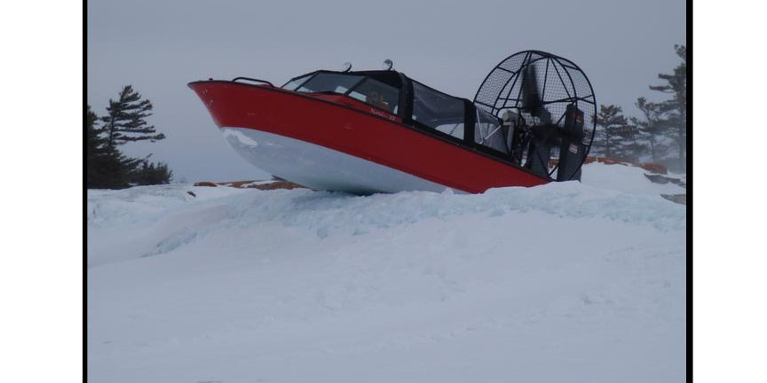 Airboat Climbing Icy Hill