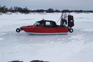 Biondo Rescue Boat with Retractable Wheels on Ice